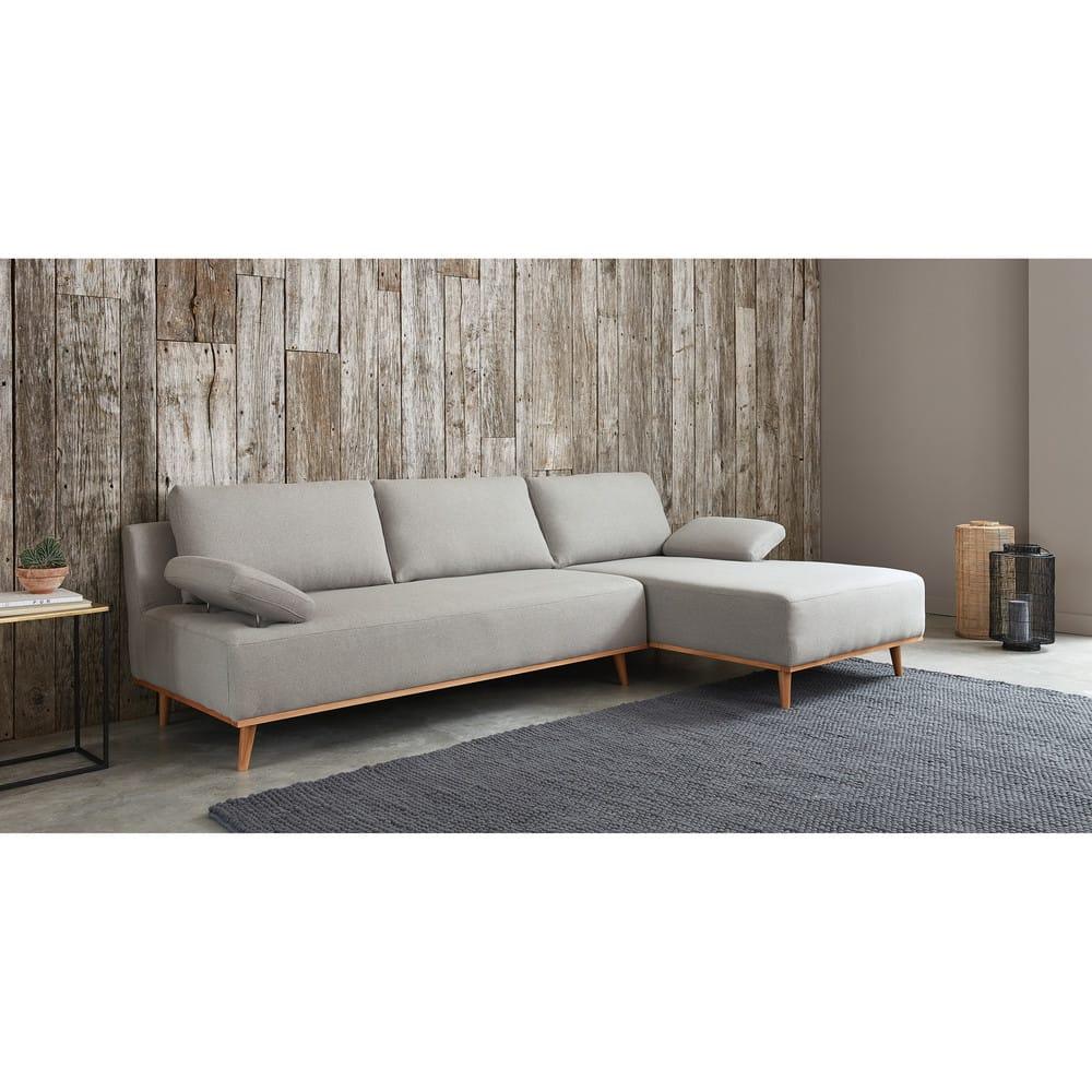 canap d 39 angle droit 5 places en coton gris clair stone. Black Bedroom Furniture Sets. Home Design Ideas