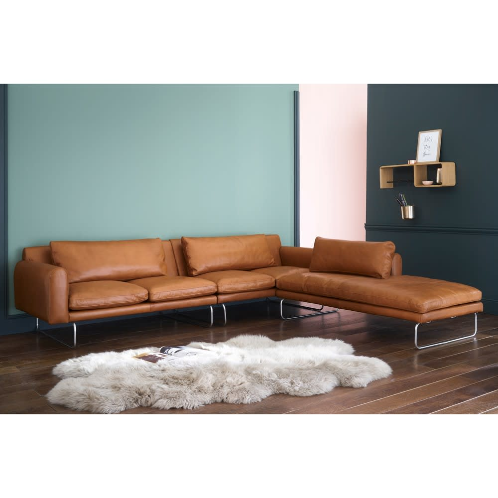 canap d 39 angle droit 5 places en cuir cognac liberty. Black Bedroom Furniture Sets. Home Design Ideas