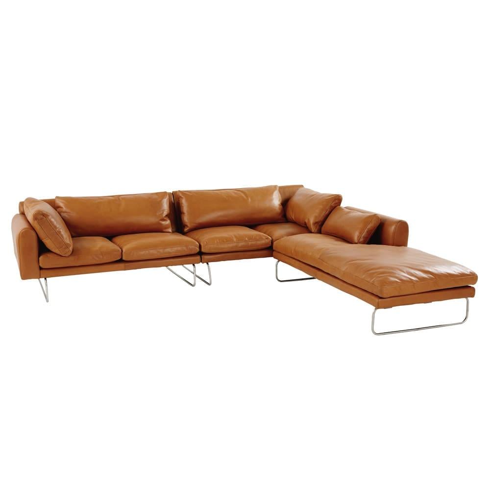 canap d 39 angle droit 5 places en cuir cognac liberty maisons du monde. Black Bedroom Furniture Sets. Home Design Ideas