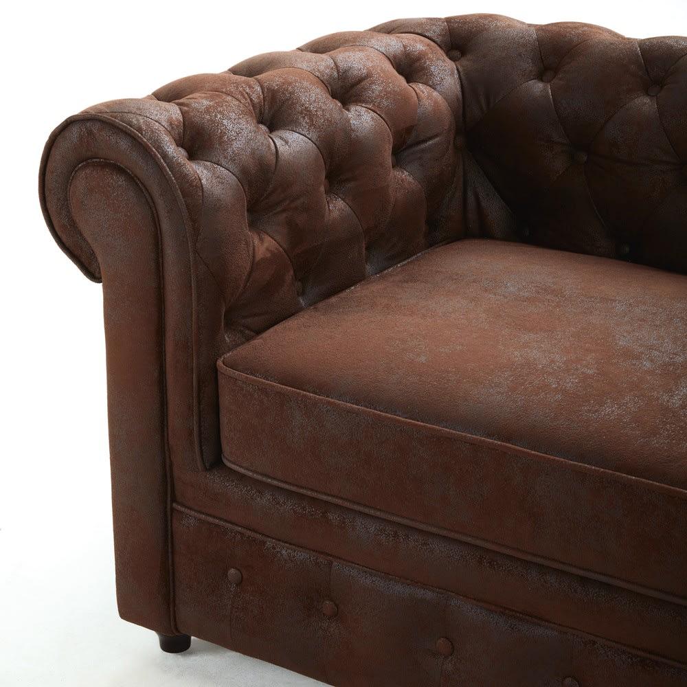 canap d 39 angle droit 5 places en su dine marron. Black Bedroom Furniture Sets. Home Design Ideas