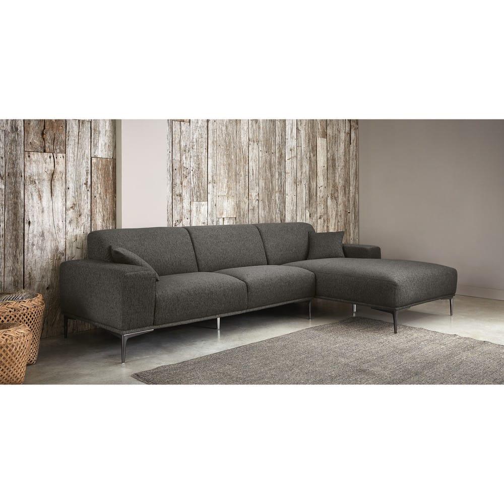 canap d 39 angle droit 5 places gris chin tokyo maisons. Black Bedroom Furniture Sets. Home Design Ideas
