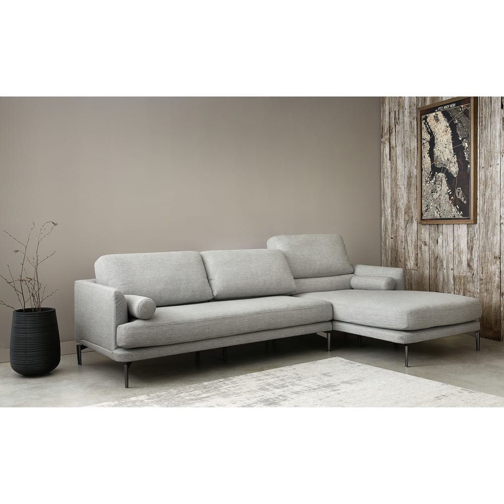 canap d 39 angle droit 5 places gris clair alaska maisons. Black Bedroom Furniture Sets. Home Design Ideas