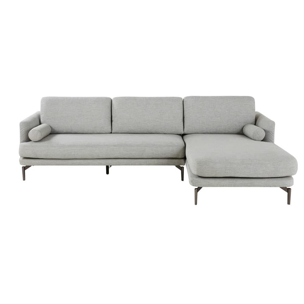 canap d 39 angle droit 5 places gris clair alaska maisons du monde. Black Bedroom Furniture Sets. Home Design Ideas