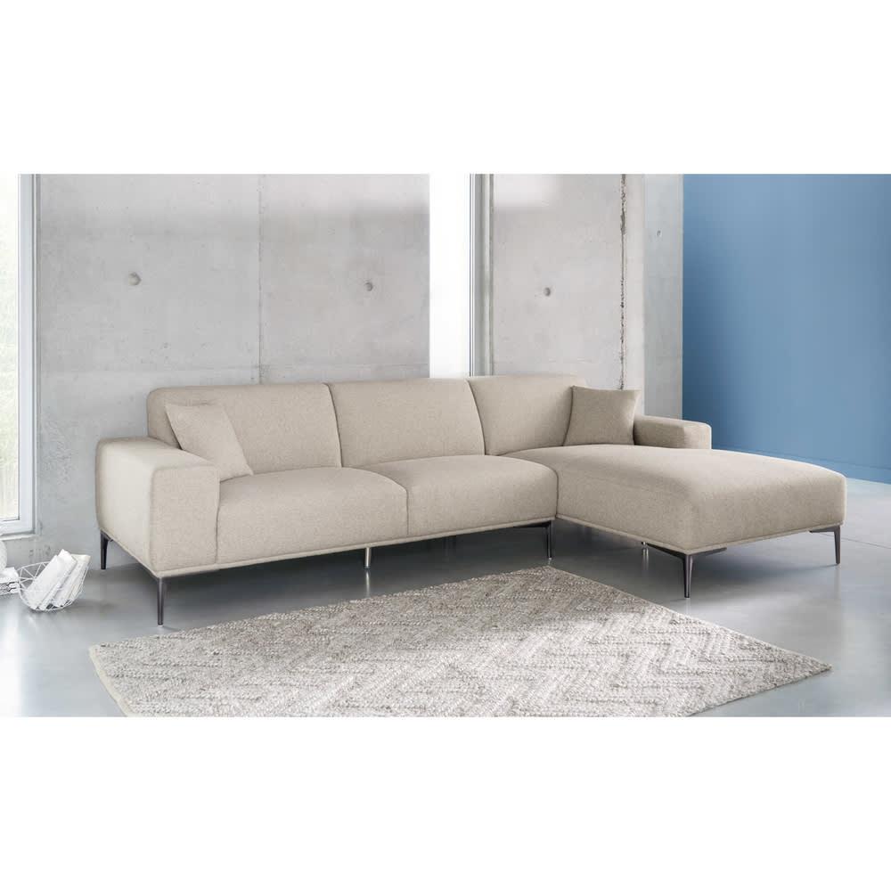 canap d 39 angle droit 5 places gris clair chin tokyo. Black Bedroom Furniture Sets. Home Design Ideas