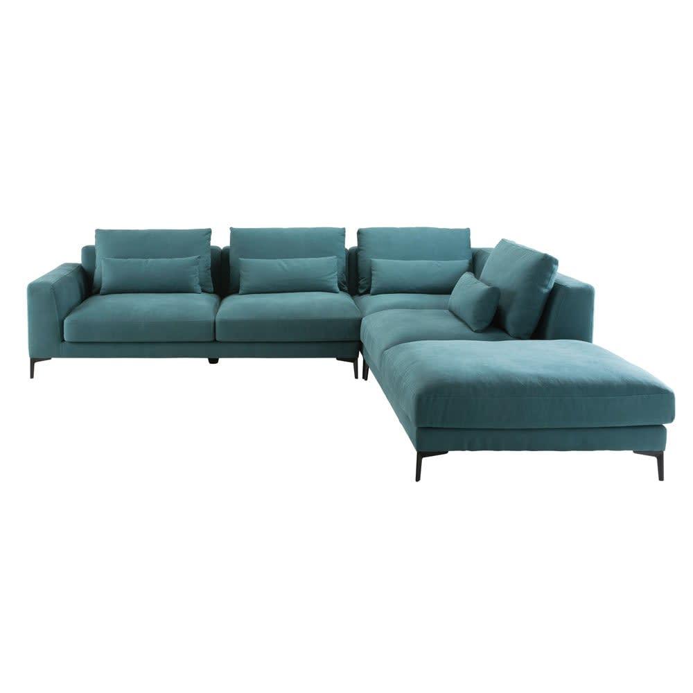 portland - canapé d'angle droit 6 places en coton et lin bleu canard
