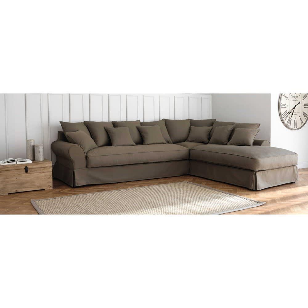 canap d 39 angle droit 6 places en coton gris clair bastide maisons du monde. Black Bedroom Furniture Sets. Home Design Ideas
