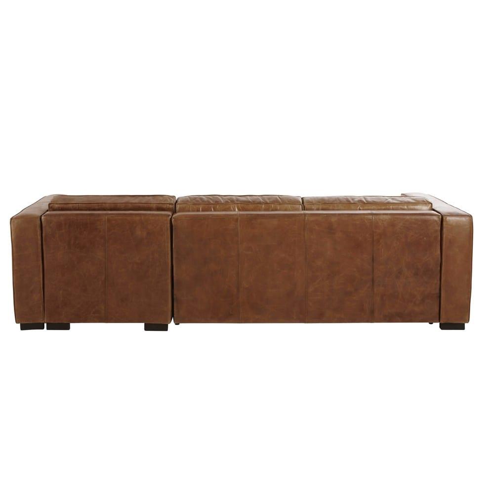Canap d 39 angle droit convertible 4 places en cuir marron - Canape droit 4 5 places ...