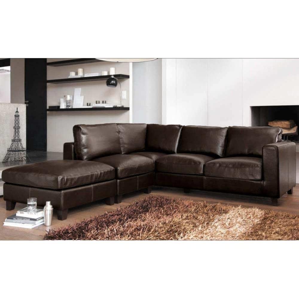 canap d 39 angle droit convertible 5 places en cro te de cuir marron kennedy maisons du monde. Black Bedroom Furniture Sets. Home Design Ideas
