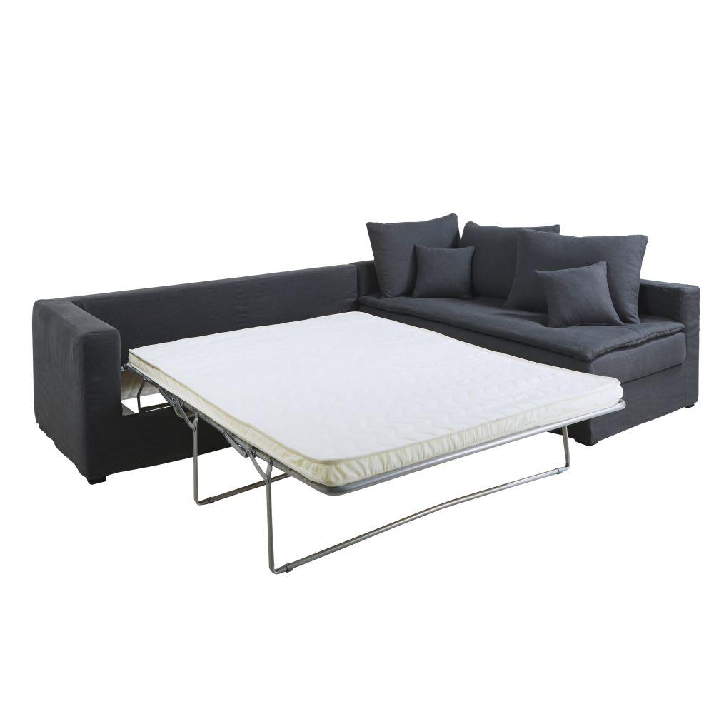 canap d 39 angle droit convertible 5 places en lin lav gris. Black Bedroom Furniture Sets. Home Design Ideas