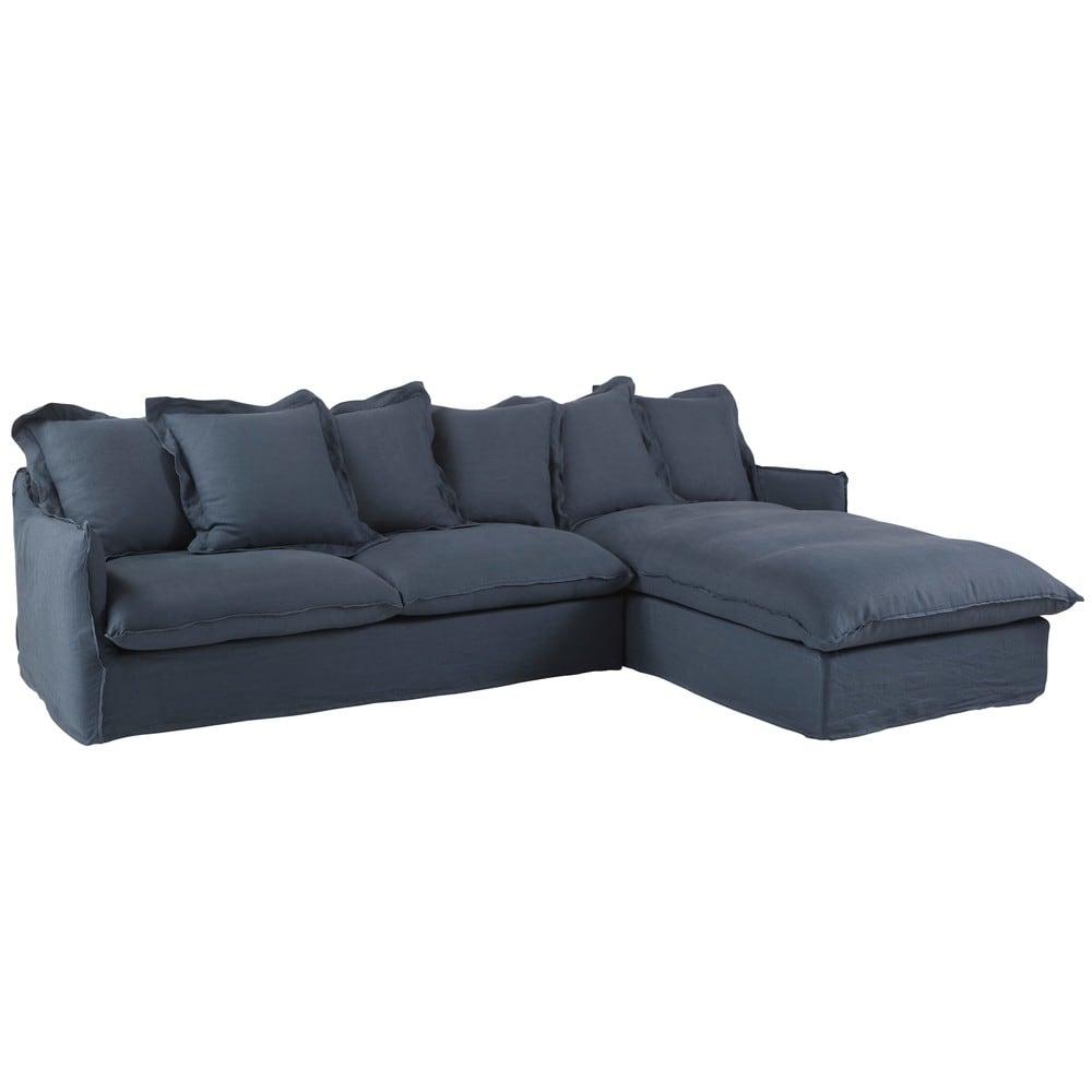 Canapé d'angle droit convertible 6 places en lin lavé bleu ...