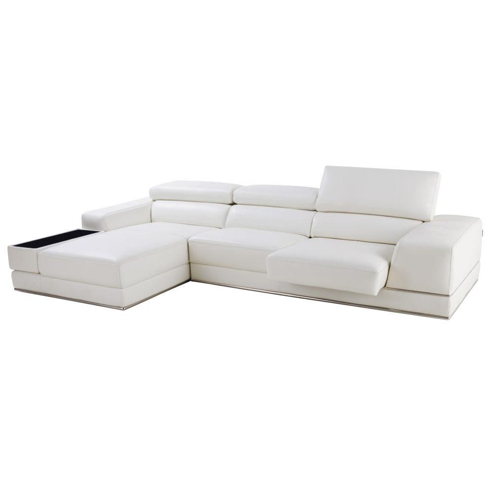 canap d 39 angle gauche 4 5 places en cuir blanc chandler. Black Bedroom Furniture Sets. Home Design Ideas