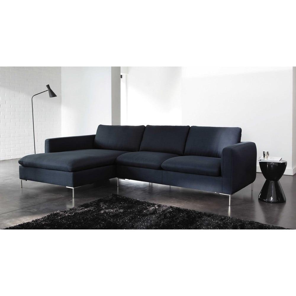 canap d 39 angle gauche 5 places bleu nuit city maisons du monde. Black Bedroom Furniture Sets. Home Design Ideas