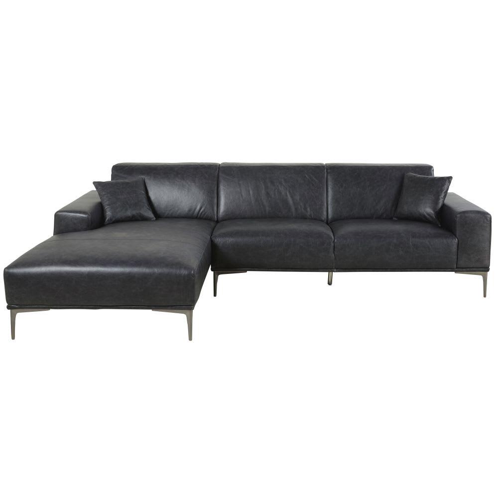 canap d 39 angle gauche 5 places en cuir noir tokyo. Black Bedroom Furniture Sets. Home Design Ideas