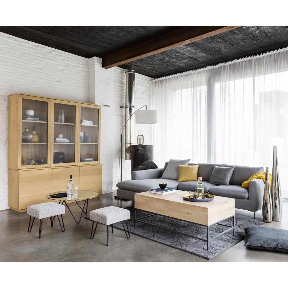 canap d 39 angle gauche 5 places gris clair city maisons. Black Bedroom Furniture Sets. Home Design Ideas