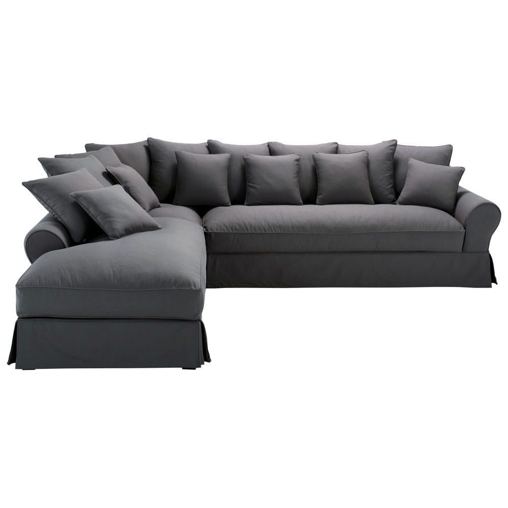 canap d 39 angle gauche 6 places en coton gris ardoise bastide maisons du monde. Black Bedroom Furniture Sets. Home Design Ideas