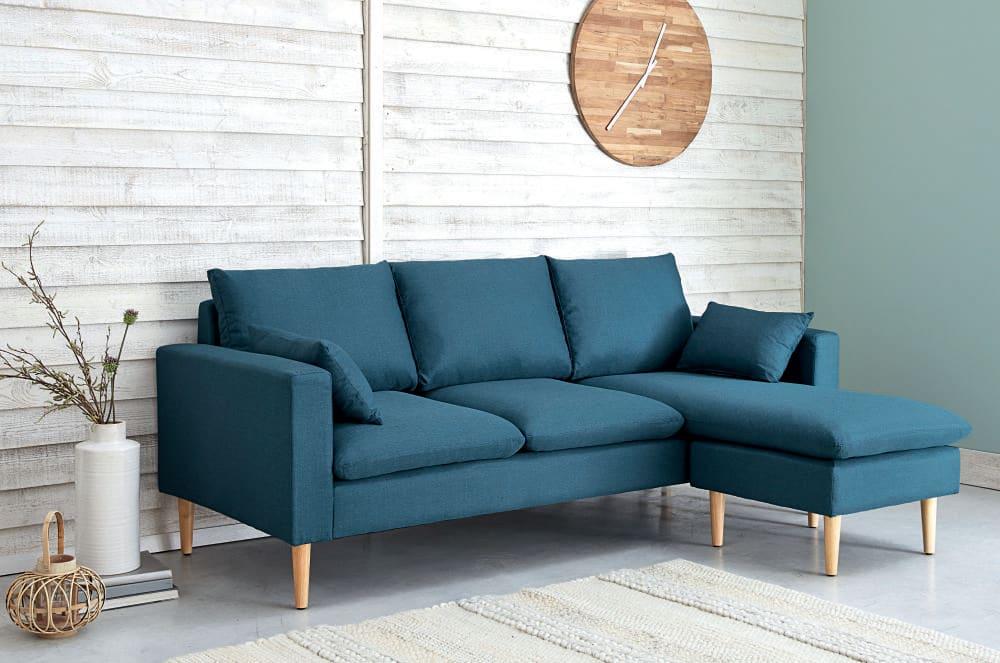canap d 39 angle modulable 3 4 places en tissu bleu joey. Black Bedroom Furniture Sets. Home Design Ideas