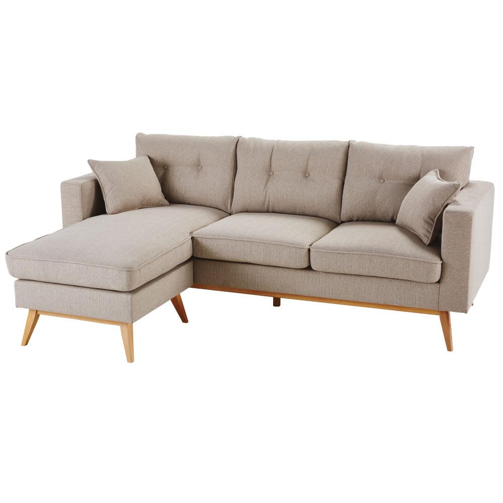 canap d 39 angle modulable 4 5 places beige brooke maisons. Black Bedroom Furniture Sets. Home Design Ideas