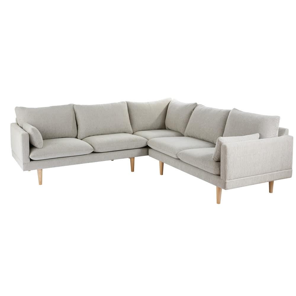 canap d 39 angle modulable 5 places gris clair collins. Black Bedroom Furniture Sets. Home Design Ideas