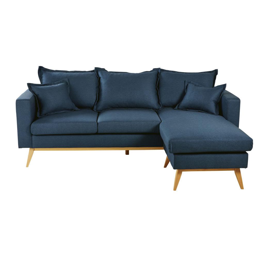 canap d 39 angle modulable style scandinave 4 5 places bleu nuit duke maisons du monde. Black Bedroom Furniture Sets. Home Design Ideas