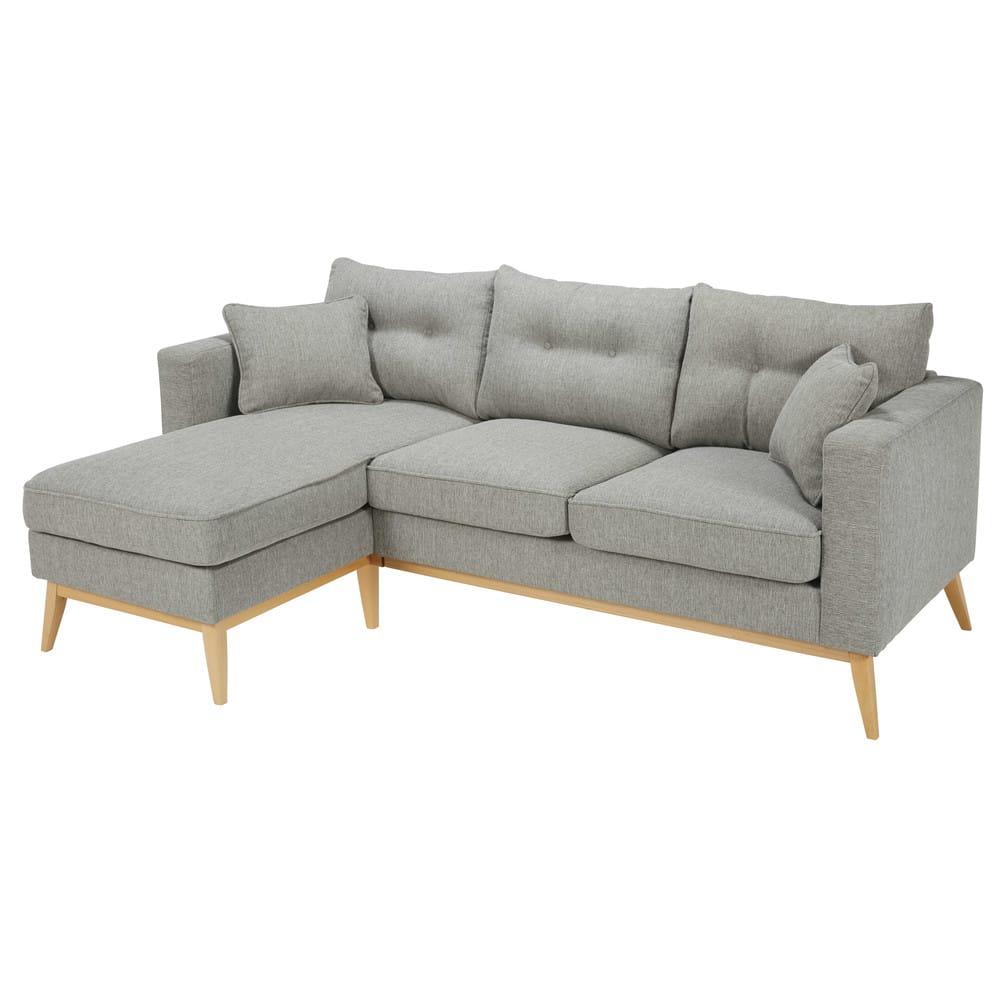 canap d 39 angle modulable style scandinave 4 5 places gris clair brooke maisons du monde. Black Bedroom Furniture Sets. Home Design Ideas