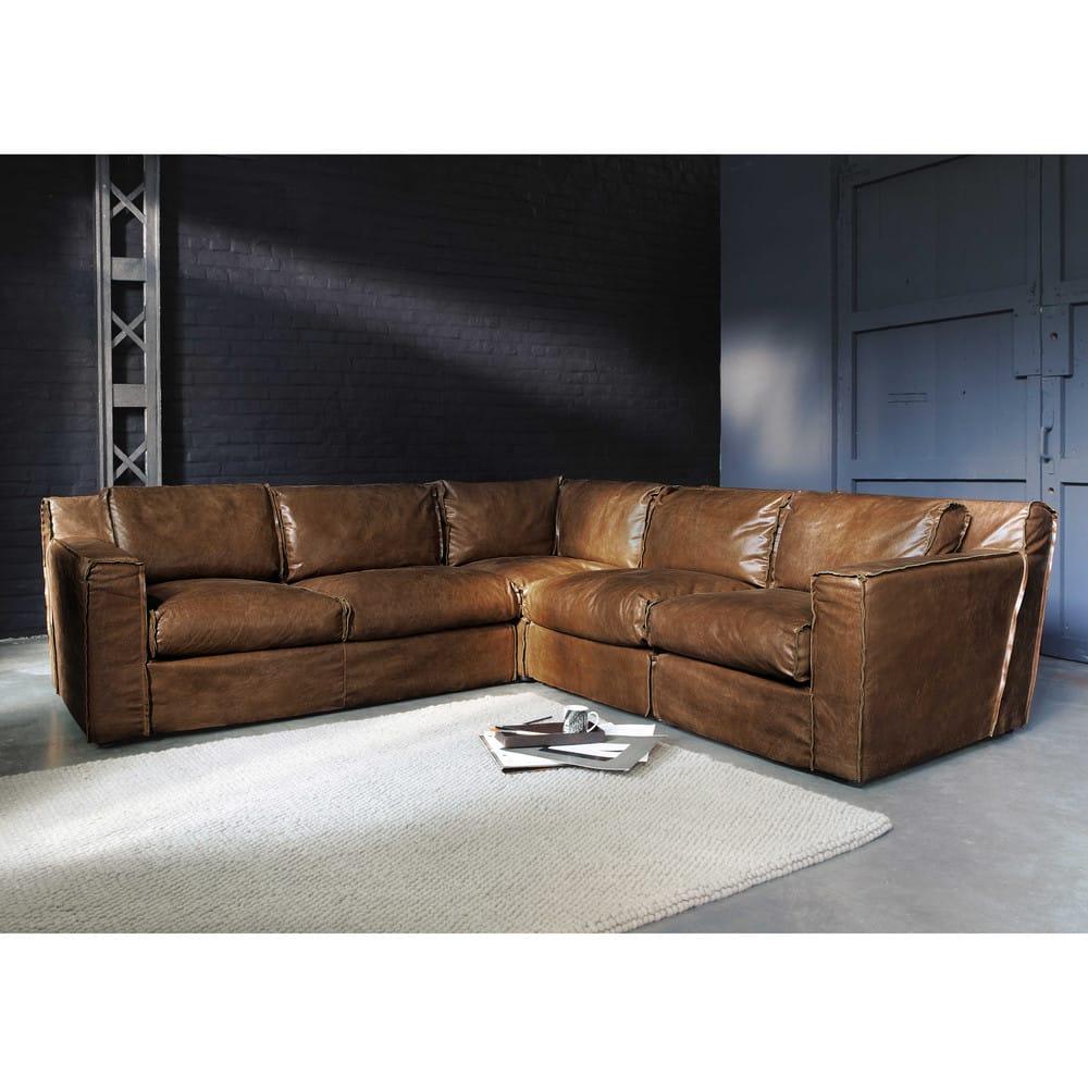 canap d 39 angle vintage 4 places en cuir cognac morrison. Black Bedroom Furniture Sets. Home Design Ideas