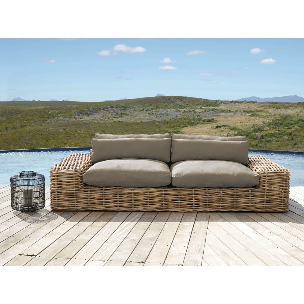 canap de jardin 2 3 places en rotin et coussins taupe st. Black Bedroom Furniture Sets. Home Design Ideas