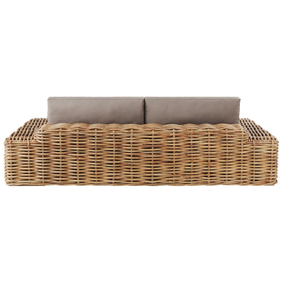 Canapé de jardin 2/3 places en rotin et coussins taupe St Tropez ...