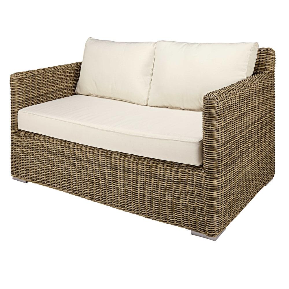canap de jardin 2 places en r sine tress e et coussins crus st rapha l maisons du monde. Black Bedroom Furniture Sets. Home Design Ideas