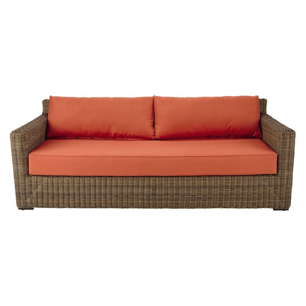 Canapé de jardin 3/4 places en résine tressée et coussins terracotta ...