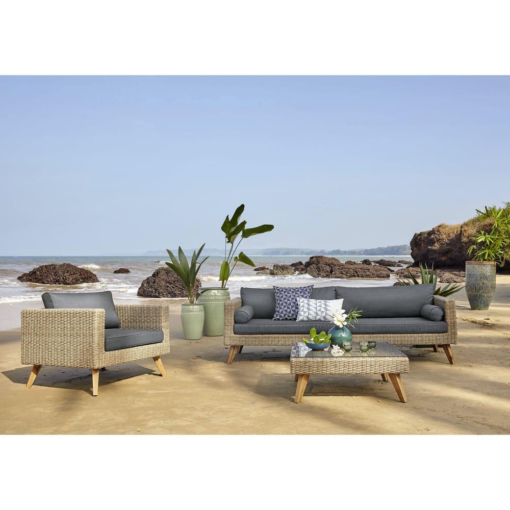 Canapé de jardin 3/4 places en résine tressée et housse gris ...