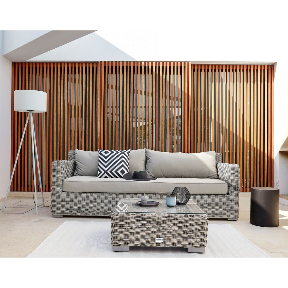 canap de jardin 3 4 places en r sine tress e grise cape town maisons du monde. Black Bedroom Furniture Sets. Home Design Ideas