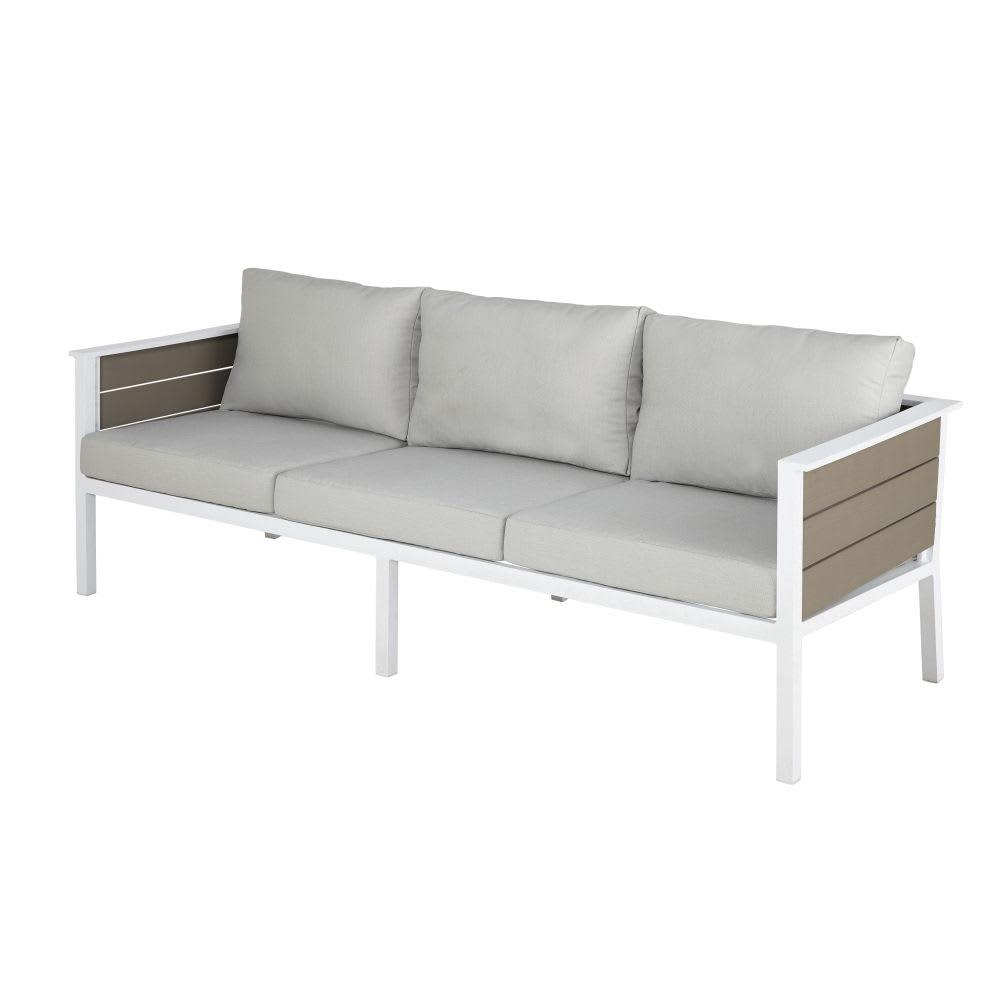canap de jardin 3 places en aluminium blanc et toile gris. Black Bedroom Furniture Sets. Home Design Ideas