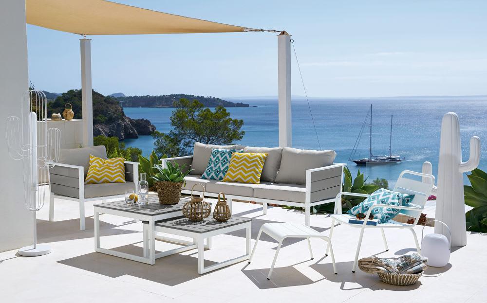 Canap de jardin 3 places en aluminium blanc et toile gris clair escale maisons du monde - Canape jardin aluminium ...