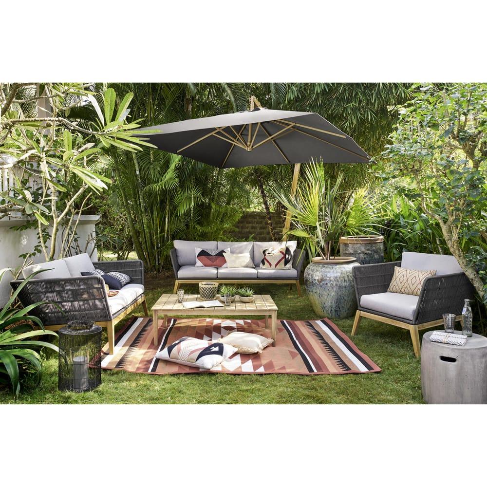 canap de jardin 3 places en corde tress e gris anthracite costa rica maisons du monde. Black Bedroom Furniture Sets. Home Design Ideas
