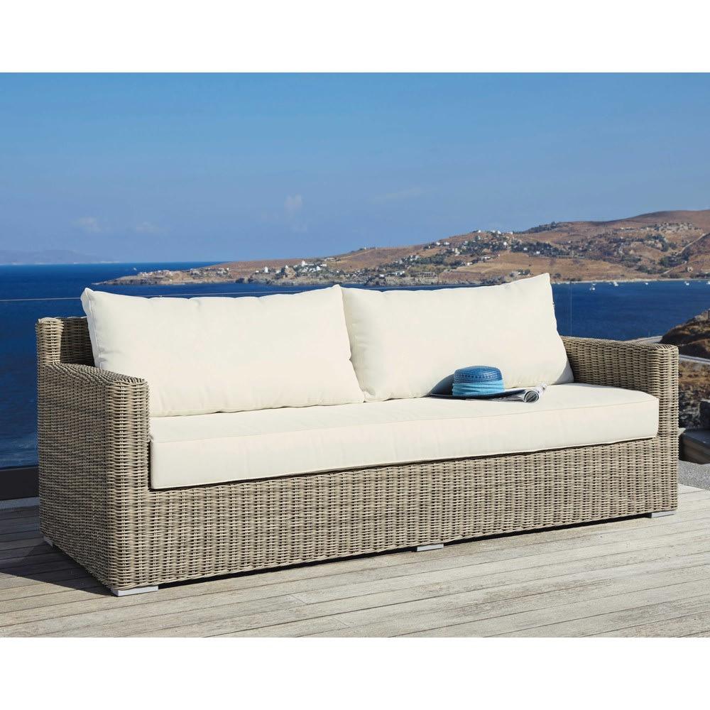 canap de jardin 3 places en r sine tress e st rapha l maisons du monde. Black Bedroom Furniture Sets. Home Design Ideas