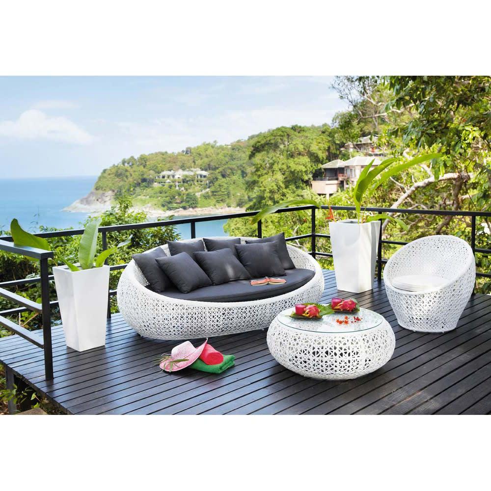 Canapé de jardin 3 places en résine tressée blanc Durban ...