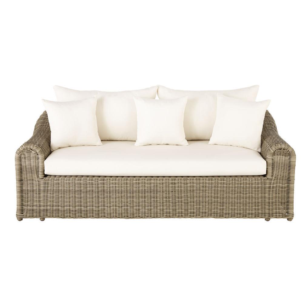 canap de jardin 3 places en r sine tress e et toile crue. Black Bedroom Furniture Sets. Home Design Ideas