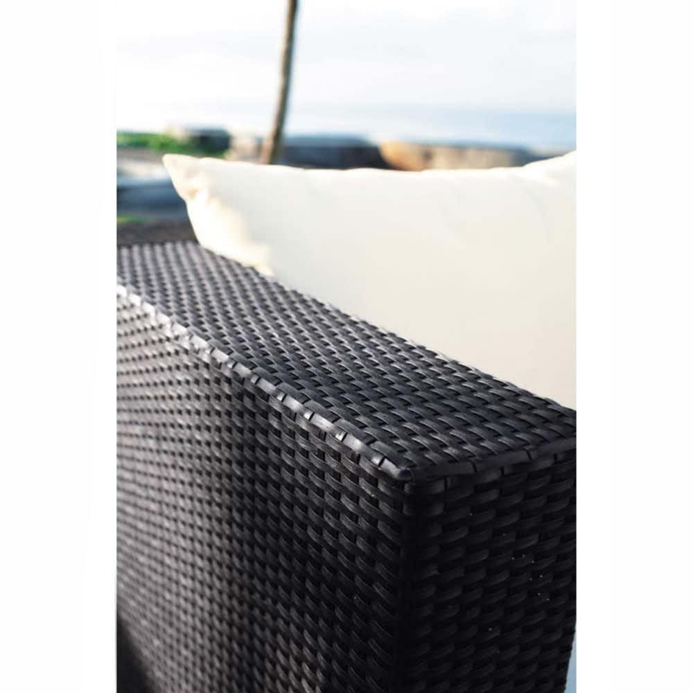 Canapé de jardin 3 places en résine tressée noir Miami | Maisons du ...