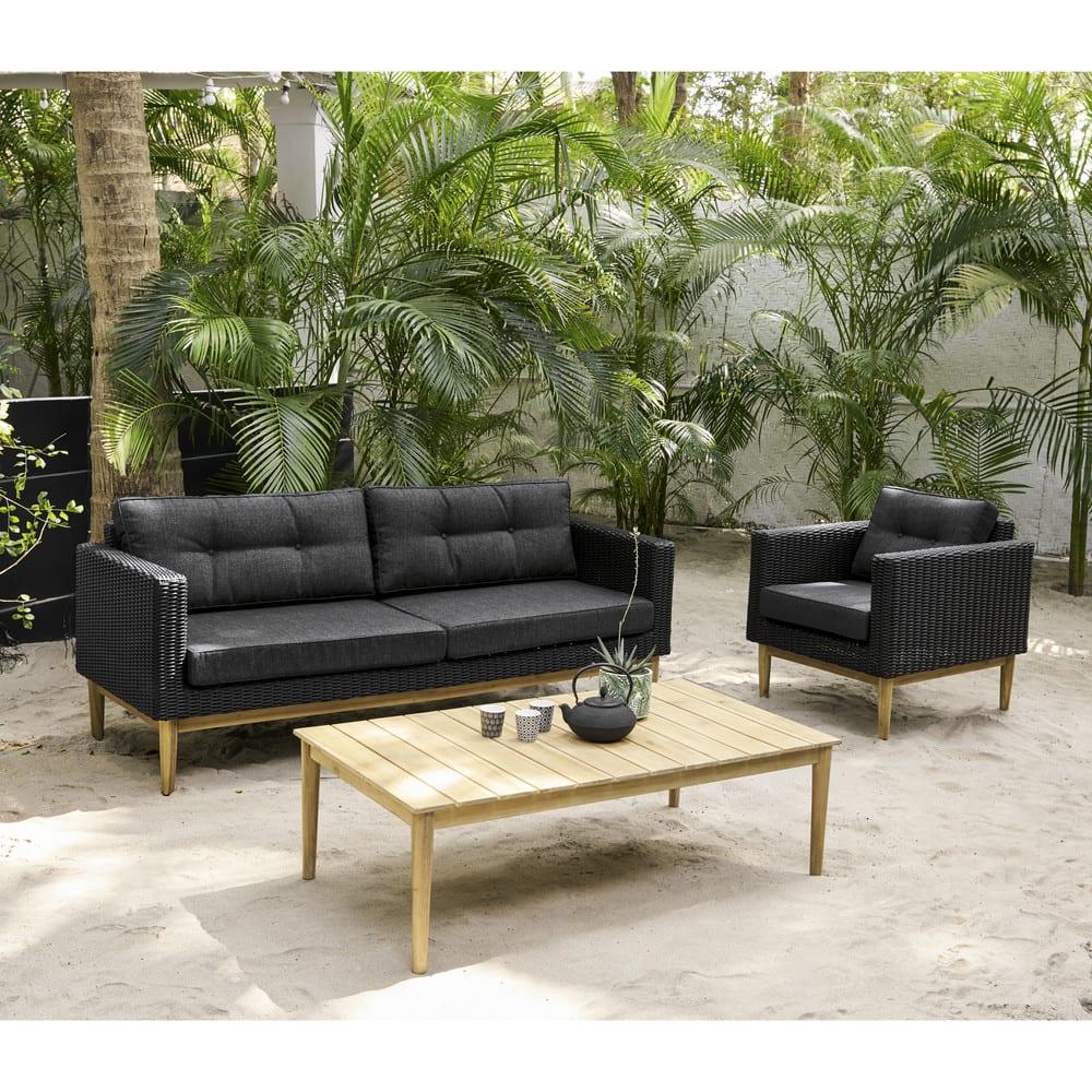 canap de jardin 3 places en r sine tress e noire. Black Bedroom Furniture Sets. Home Design Ideas