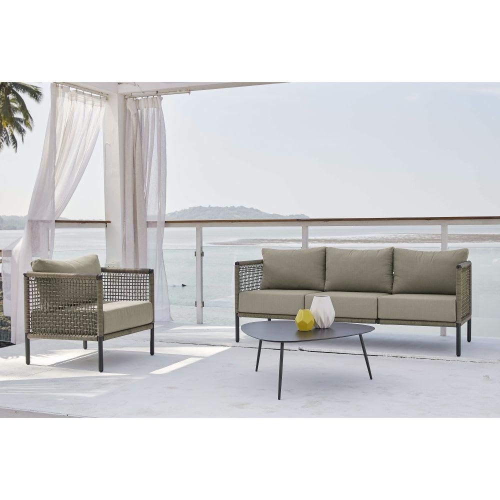 Canapé de jardin 3 places en résine tressée taupe Bermudes | Maisons ...