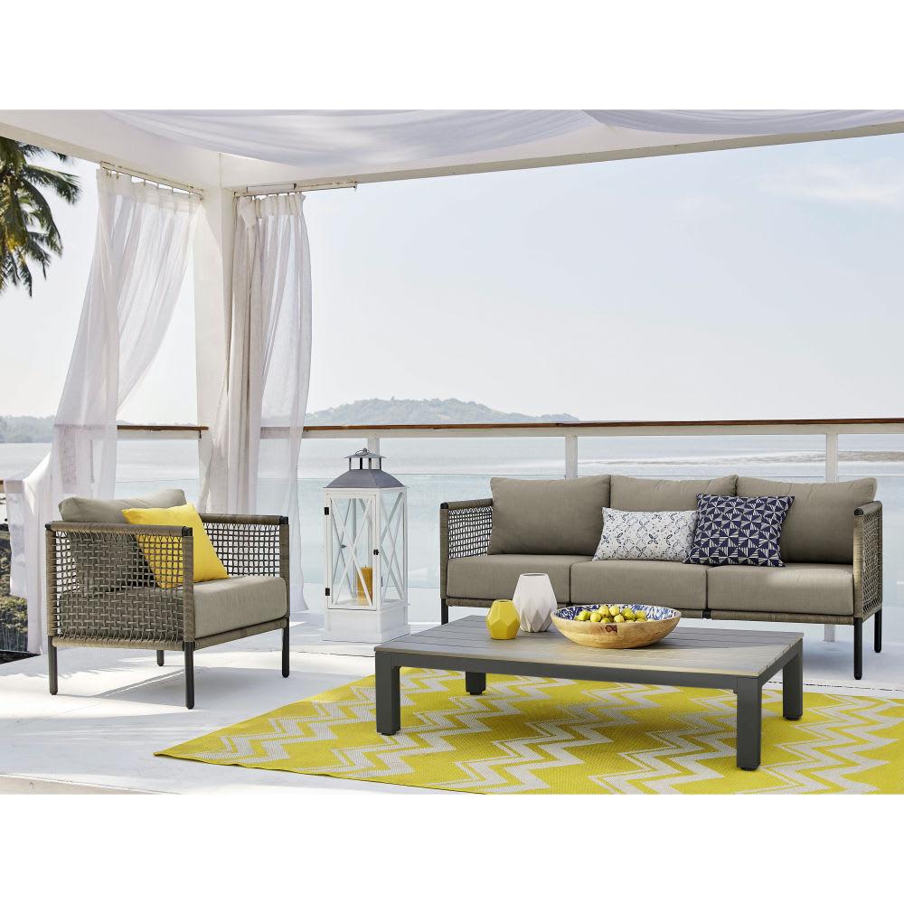 canap de jardin 3 places en r sine tress e taupe bermudes. Black Bedroom Furniture Sets. Home Design Ideas