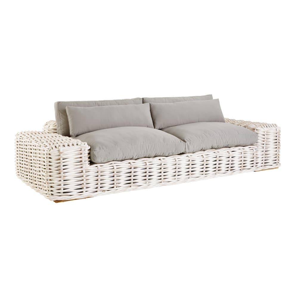 Canapé de jardin 3 places en rotin gris clair St Tropez | Maisons du ...
