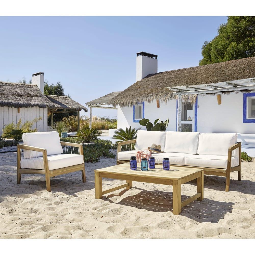 Canapé de jardin 3 places en teck massif et corde Cayenne | Maisons ...