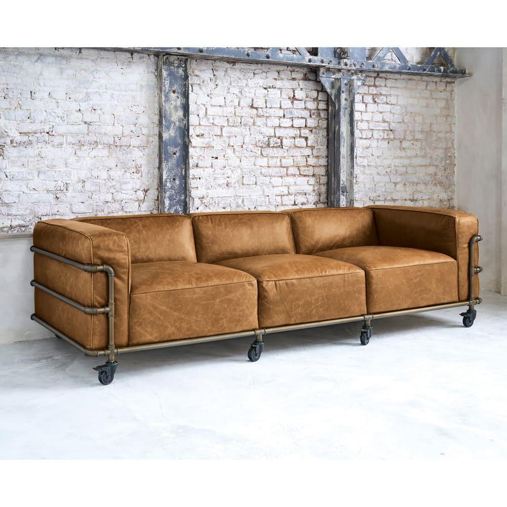 canap indus 4 places en cuir havane fabric maisons du monde. Black Bedroom Furniture Sets. Home Design Ideas