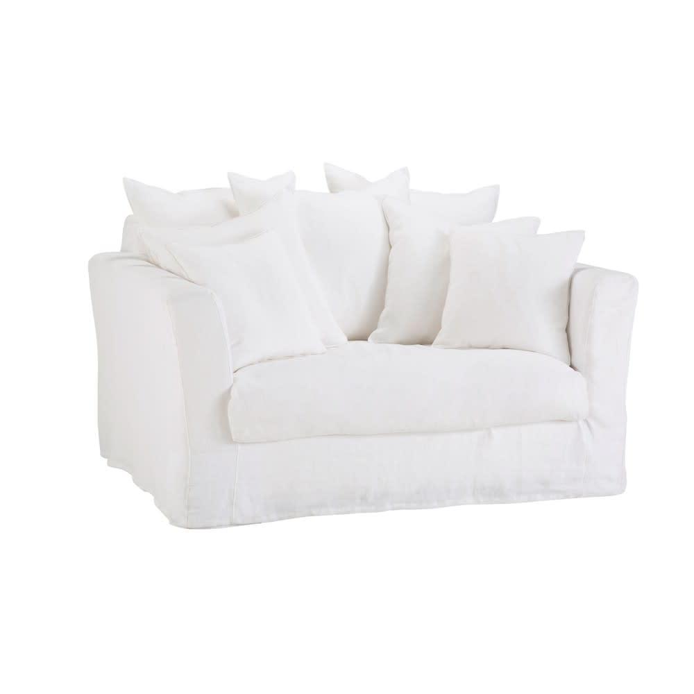 Canap lit 1 2 places en lin blanc bartholom maisons du - Canapes lits convertibles ...