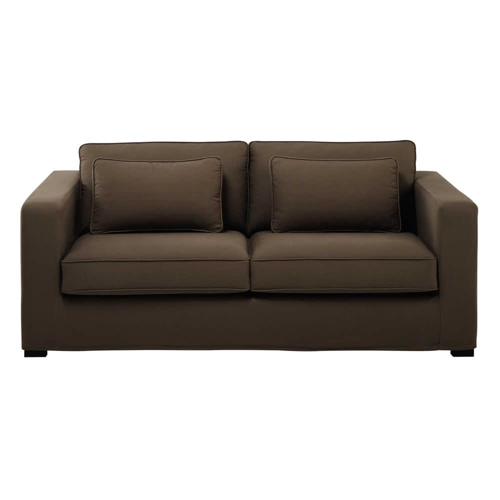 canap lit 2 3 places en coton taupe matelas 12 cm milano. Black Bedroom Furniture Sets. Home Design Ideas