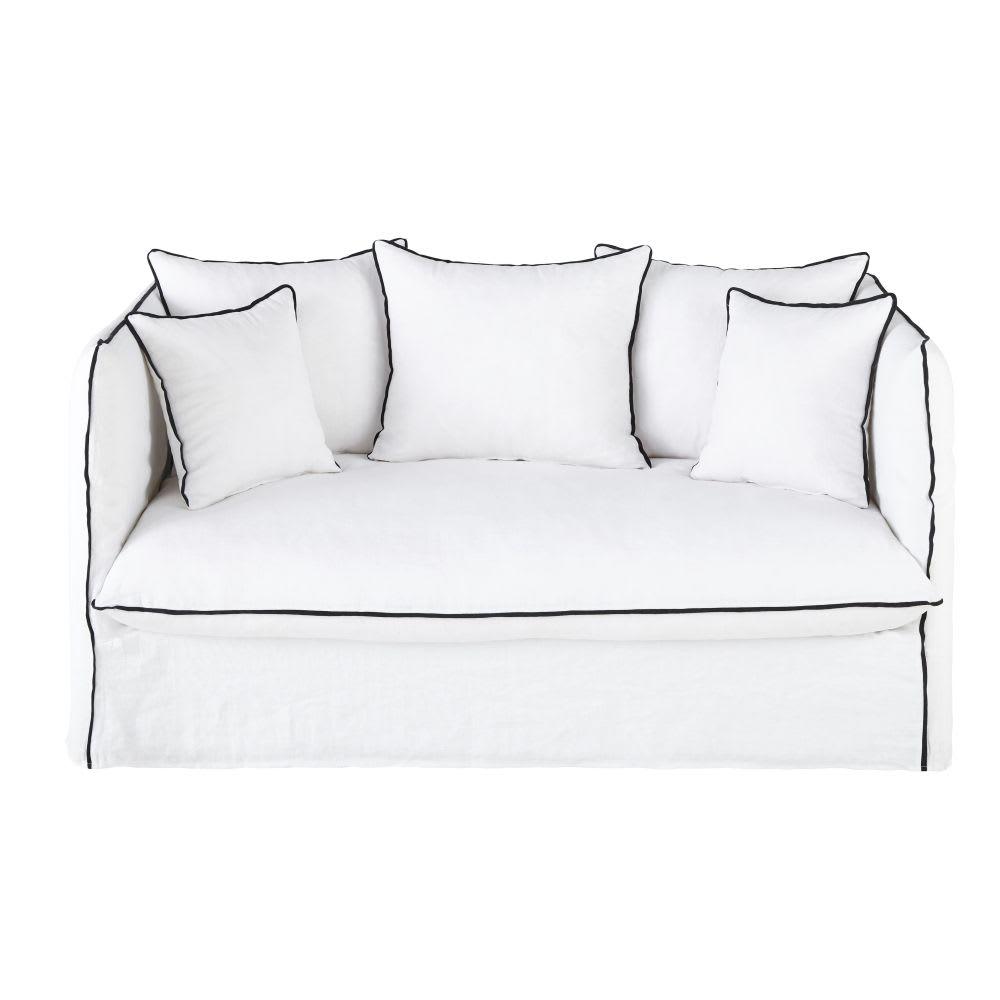canap lit 2 places en lin lav blanc et volants noirs. Black Bedroom Furniture Sets. Home Design Ideas