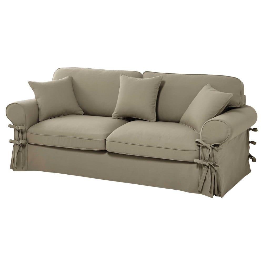 canap lit 3 4 places en coton beige matelas 12 cm butterfly maisons du monde. Black Bedroom Furniture Sets. Home Design Ideas