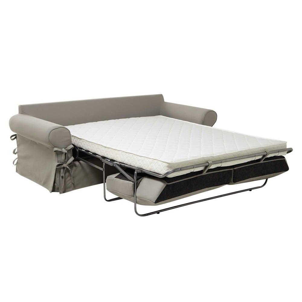 canap lit 3 4 places en coton gris clair matelas 12 cm butterfly maisons du monde. Black Bedroom Furniture Sets. Home Design Ideas