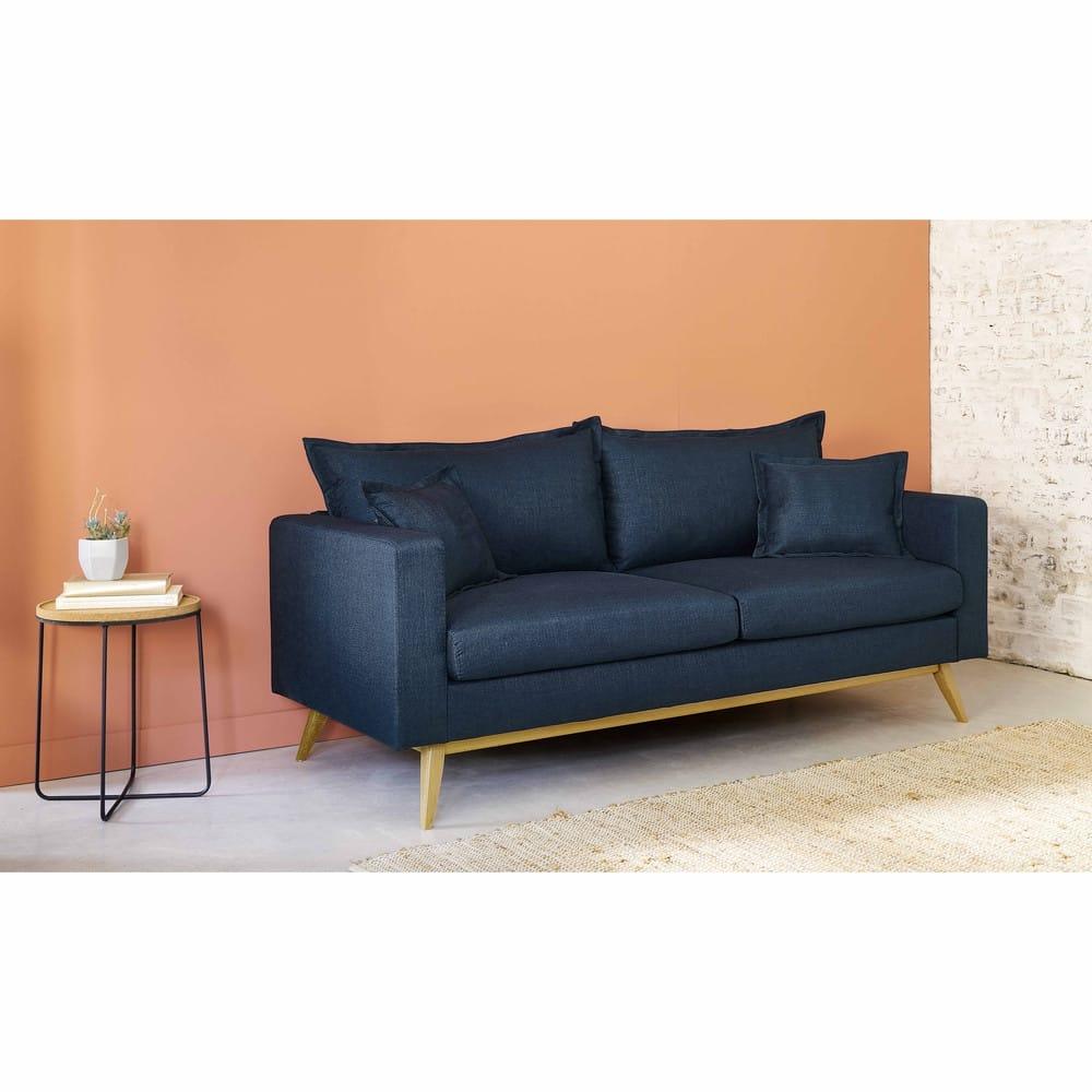 canap lit 3 places bleu nuit duke maisons du monde. Black Bedroom Furniture Sets. Home Design Ideas